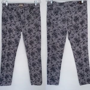 Paige Peg Skinny Gray Floral Printed Jeans